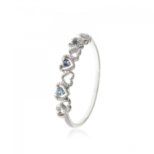 Allure Sterling Silver Heart Sapphire and Blue Topaz Band Ring