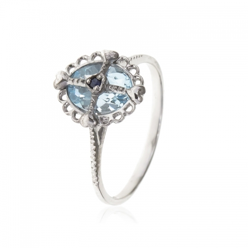 Allure Sterling Silver Blue Topaz Oval Stone Ring