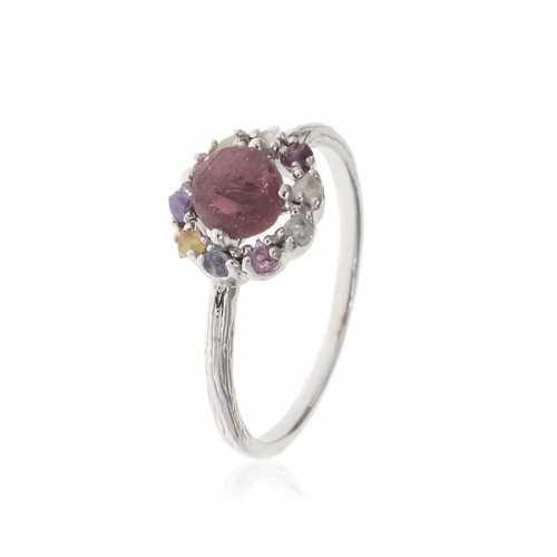 Allure Sterling Silver Red, White, Purple & Yellow Natural Stones Ring