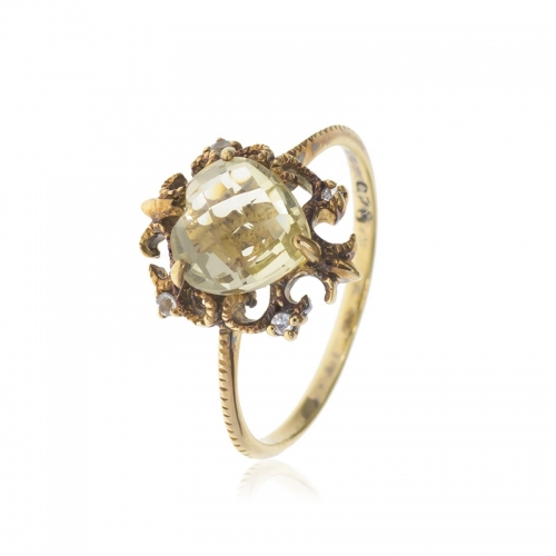 Allure Gold Plated Ornate Lime Quartz Ring