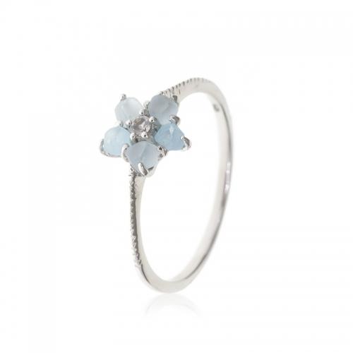Allure Sterling Silver Pale Blue Topaz Stone Flower Ring