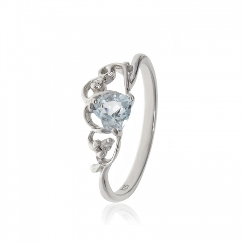 Allure Sterling Silver Blue Topaz Heart Ring