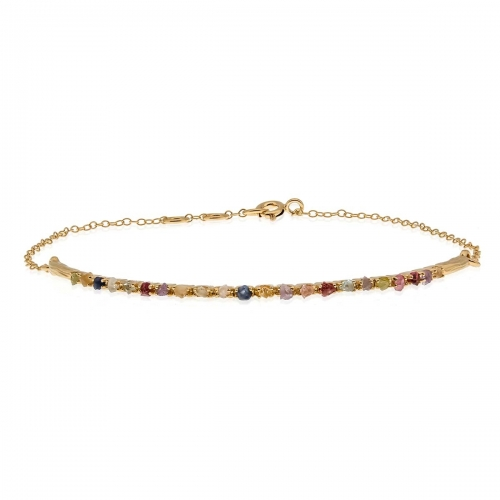 Allure Gold Plated Multiple Natural Stones Bangle