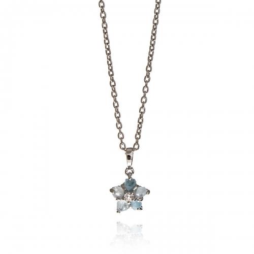 Allure Silver Blue Topaz Star Pendant Necklace