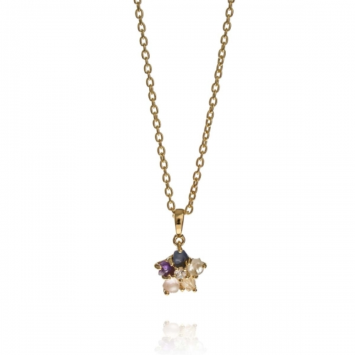 Allure Gold Plated Silver Multiple Natural Stones Pendant Necklace