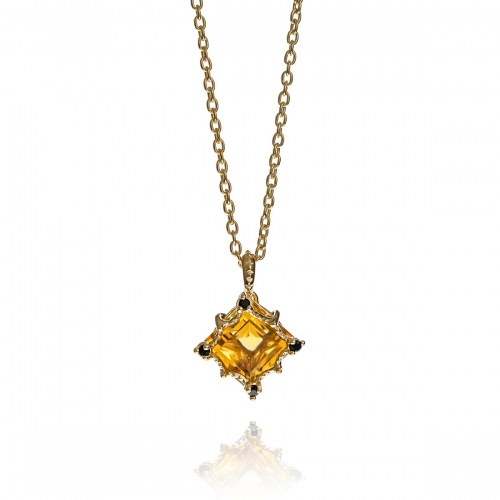 Allure Gold Plated Silver Square Cut Citrine Stones Pendant Necklace