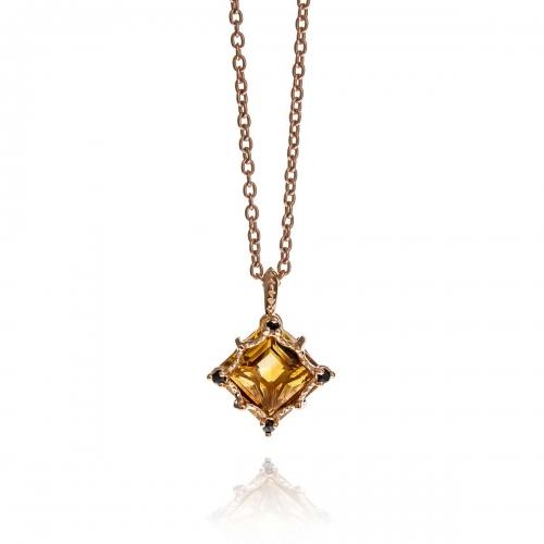 Allure Rose Gold Plated Silver Square Cut Citrine Stones Pendant Necklace
