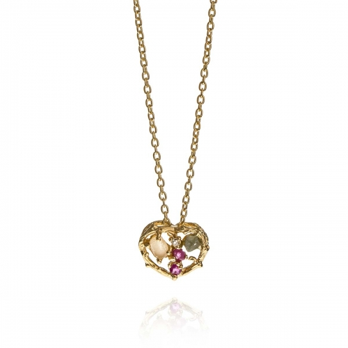 Allure Gold Plated Heart Multiple Natural Stones Pendant Necklace
