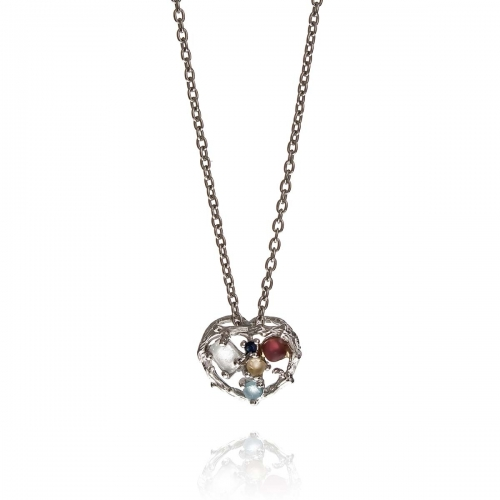 Allure Silver Heart Multiple Natural Stones Pendant Necklace