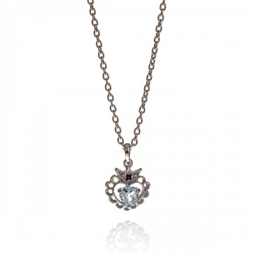 Allure Sterling Silver Blue Topaz Heart Crown Pendant Necklace