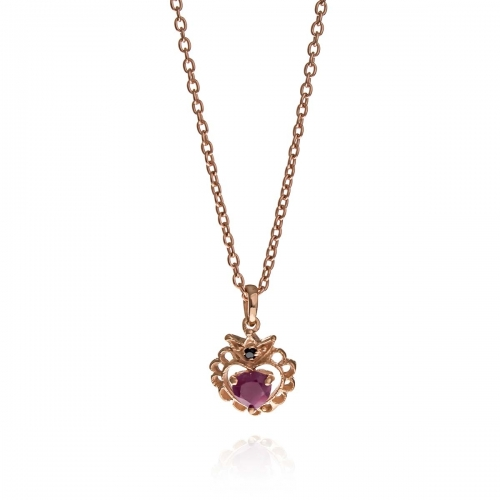 Allure Rose Gold Plated Rhodolite Heart Crown Pendant Necklace