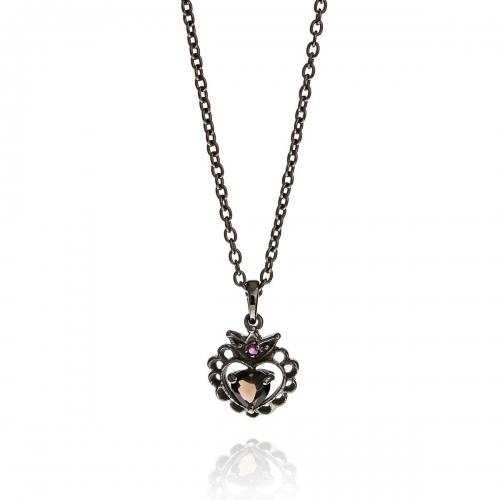 Allure Oxidised Plated Smokey Quartz Heart Crown Pendant Necklace