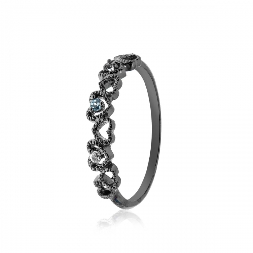 Allure Black Rhodium Plated Heart Sapphire and Blue Topaz Band Ring
