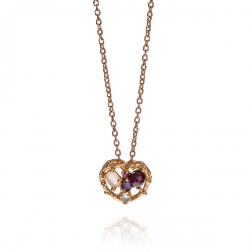 Allure Rose Gold Plated Heart Multiple Natural Stones Pendant Necklace