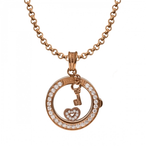 Key Moments Sparkling Heart Rose Gold Necklace Set