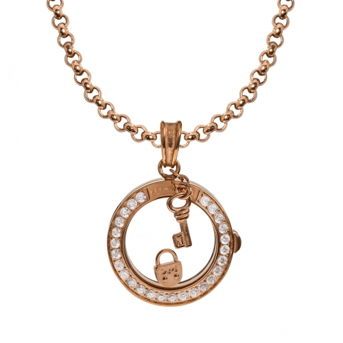 Key Moments Eternal Lock Rose Gold Necklace Set