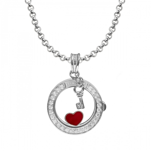 Key Moments Glowing Heart Silver Necklace Set