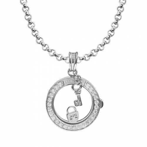 Key Moments Eternal Lock Silver Necklace Set