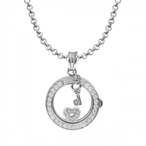 Key Moments Sparkling Heart Silver Necklace Set
