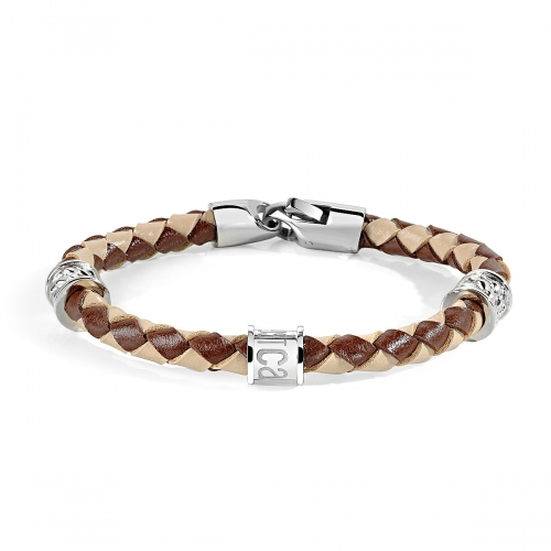 Just Cavalli Brown Braided Leather Bracelet