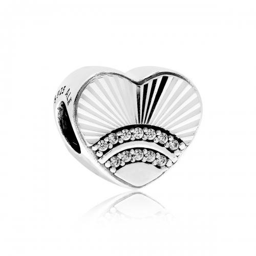 Pandora Fan of Love Silver & CZ Heart Charm 797288CZ