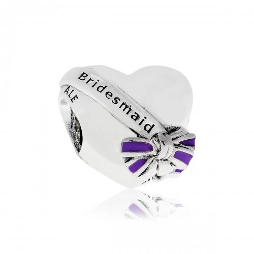 Pandora Best Bridesmaid Silver & Purple Enamel Heart Charm 797272EN159