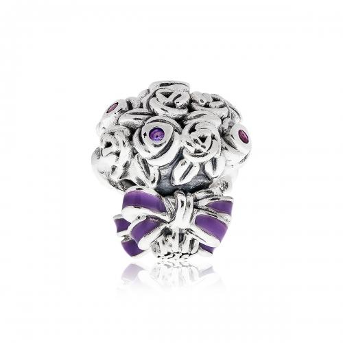 Pandora Celebration Bouquet Silver, CZ & Purple Enamel Charm 797260NLC