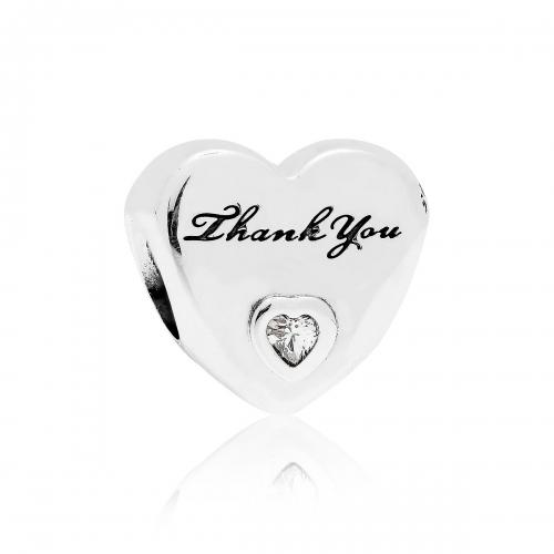 Pandora Thank You Heart Silver & CZ Charm 792096CZ