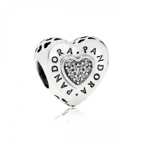 Pandora Logo Heart Silver & CZ Charm 797375CZ