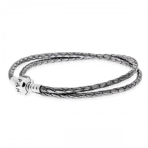 Pandora Grey Double Woven Leather Charm Bracelet 590705CSG-D