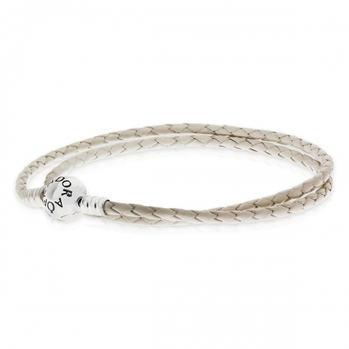 Pandora Ivory White Double Woven Leather Charm Bracelet 590745CIW