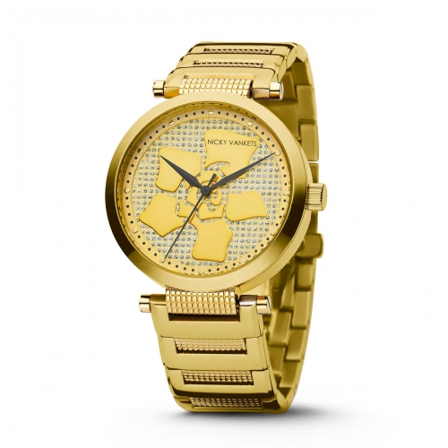 Nicky Vankets Floral CZ Gold Watch
