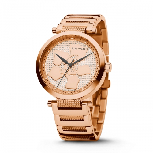 Nicky Vankets Floral CZ Rose Gold Watch