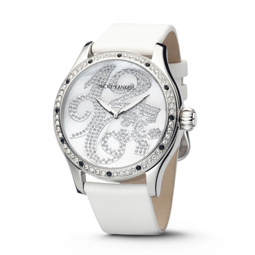 Nicky Vankets Silver & White CZ Watch