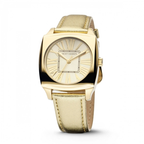 Nicky Vankets Square Sunburst Gold Watch