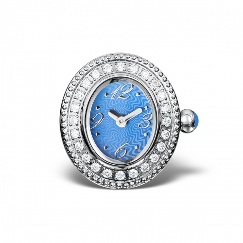 LIMITED SAMPLE: Timebeads Blue & CZ Oval Watch Charm With Clip Fastening