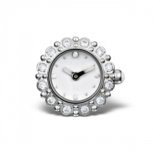 LIMITED SAMPLE: Timebeads White & CZ Floral Watch Charm With Clip Fastening