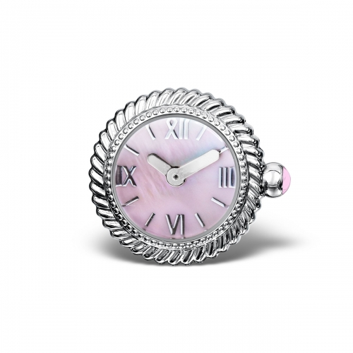 LIMITED SAMPLE: Timebeads Pink Pearlescent Swirl Watch Charm With Screw Fastening