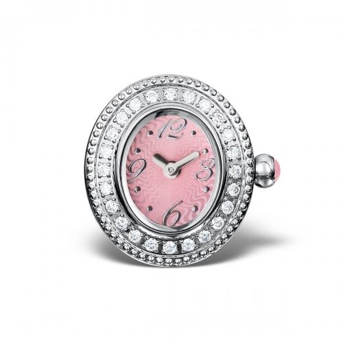 LIMITED SAMPLE: Timebeads Pink & CZ Oval Watch Charm With Clip Fastening