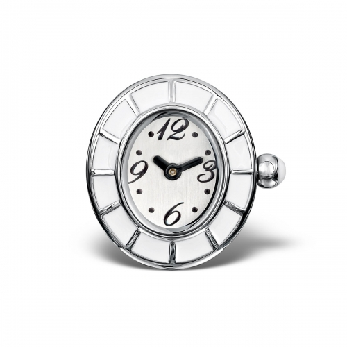 LIMITED SAMPLE: Timebeads White & Enamel Oval Watch Charm With Screw Fastening
