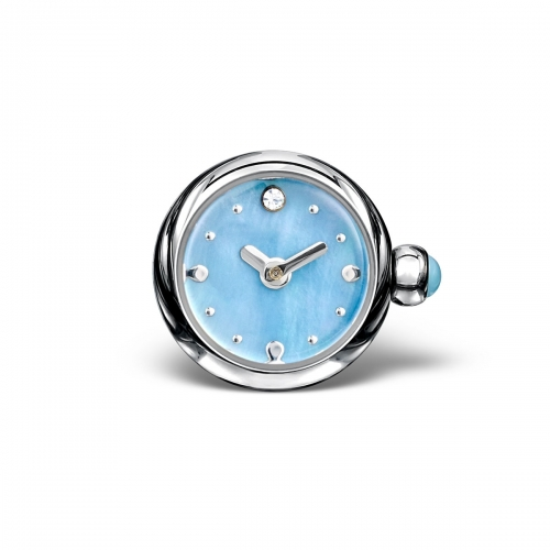 LIMITED SAMPLE: Timebeads Light Blue Round Watch Charm With Screw Fastening