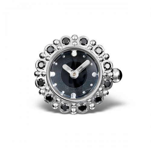 LIMITED SAMPLE: Timebeads Black & CZ Floral Watch Charm With Clip Fastening