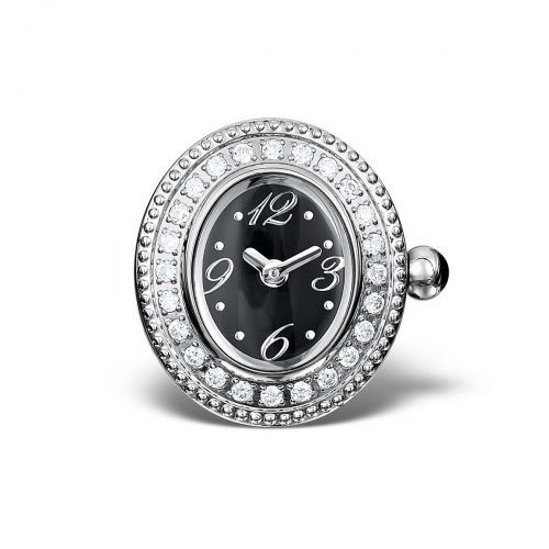 LIMITED SAMPLE: Timebeads Black & CZ Oval Watch Charm With Clip Fastening