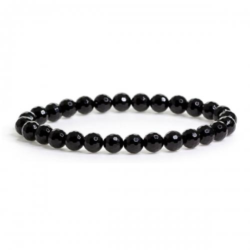 Black Agate Crystal Healing Natural Stone Bead Bracelet