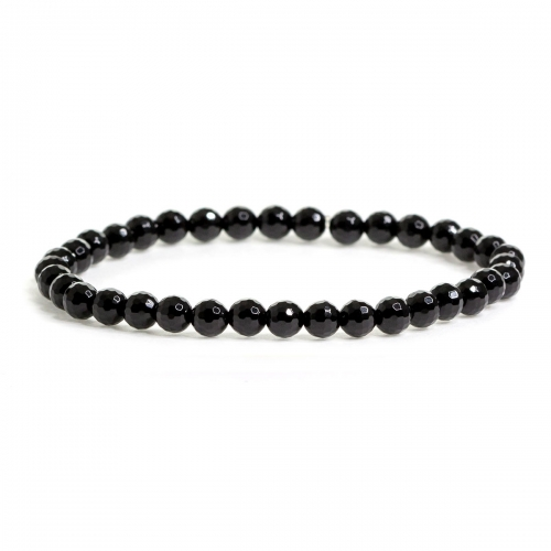 Black Agate Crystal Healing Natural Stone Small Bead Bracelet