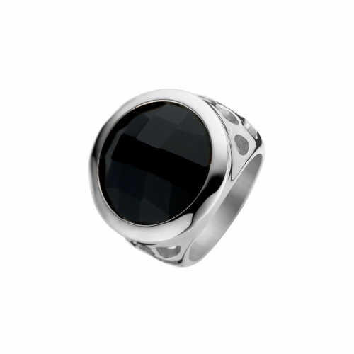 Nicky Vankets Silver & Black Cocktail Ring