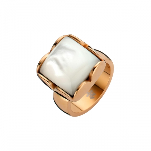 Nicky Vankets White Pearlescent Stone & Rose Gold Ring