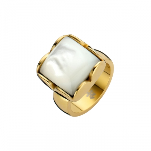 Nicky Vankets White Pearlescent Stone & Gold Ring