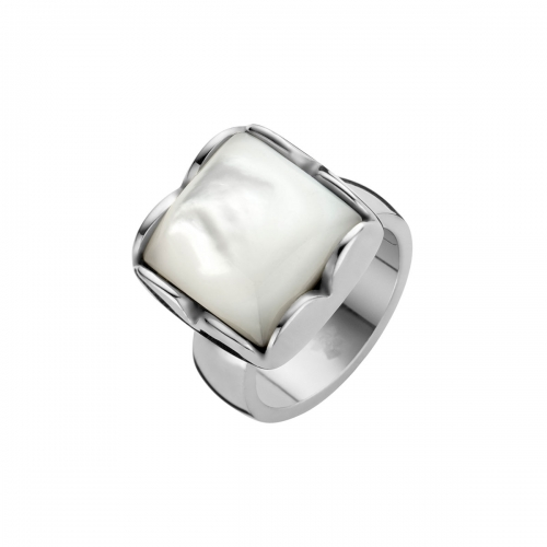 Nicky Vankets White Pearlescent Stone & Silver Ring
