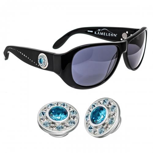 Kameleon Aqua Burst CZ & Swarovski Crystal 925 Charm & Black Sunglasses Set